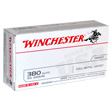 Winchester 380 Auto 95 Grain Flat Nose Full Metal Jacket Target Ammo 50 Count