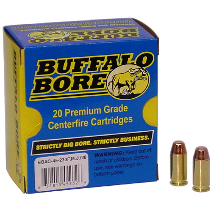 Image for 45 ACP Plus P 230 Grain Full Metal Jacket Flat Nose 20 Rounds