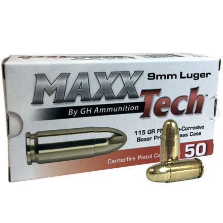 Maxxtech Brass 9mm 115 Grain Full Metal Jacket 50 Rounds