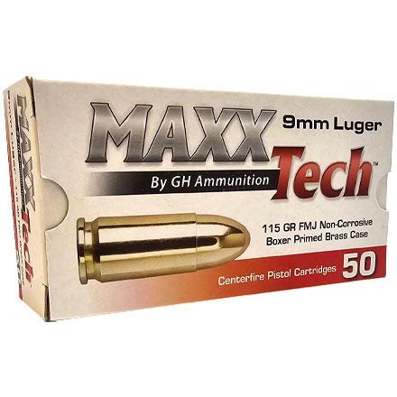 Maxxtech Brass 9mm 115 Grain Full Metal Jacket 50 Rounds