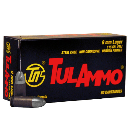 TULA 9mm 115 Grain Full Metal Jacket 50 Rounds