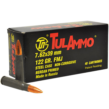 TULA 7.62x39mm 122 Grain Full Metal Jacket 40 Rounds 25 box per case