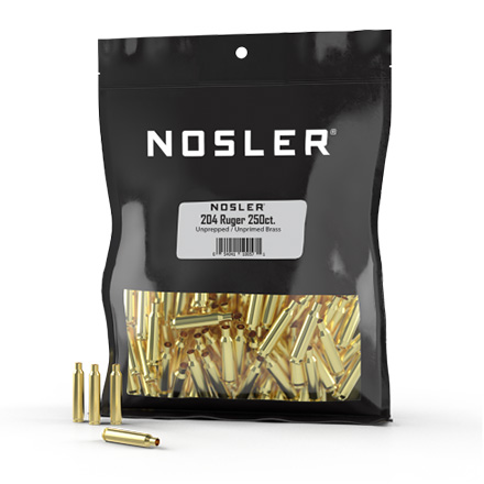 204 Ruger Unprimed Bulk Un-prepped Brass 250 Count