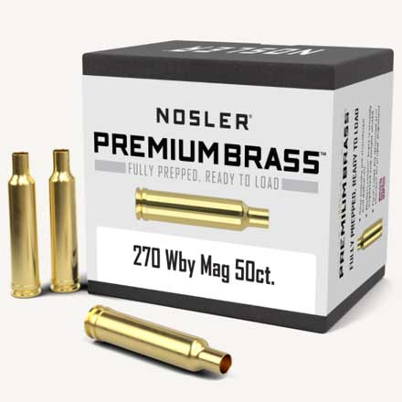 270 Weatherby Mag Unprimed Rifle Brass 50 Count