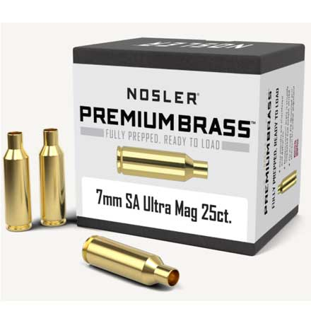 7mm Short Action Ultra Mag Unprimed Rifle Brass 25 Count