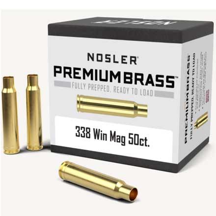 338 Winchester Mag Unprimed Rifle Brass 50 Count