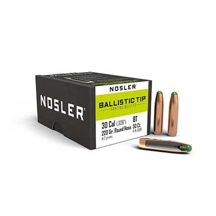 30 Caliber  308 Diameter 220 Grain Round Nose Ballistic Tip Hunting 50 Count