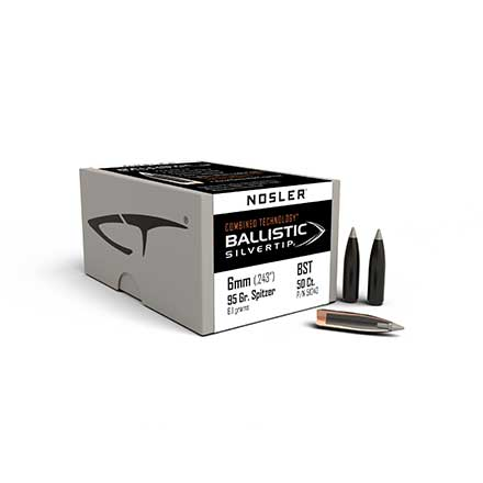 6mm .243 Diameter 95 Grain Spitzer Ballistic Silver Tip Hunting 50 Count