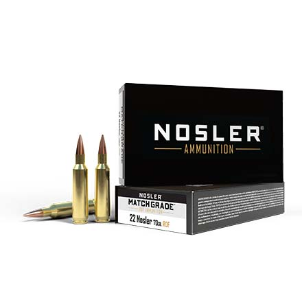 22 Nosler 70 Grain RDF Hollow Point Boat Tail Match Grade 20 Rounds