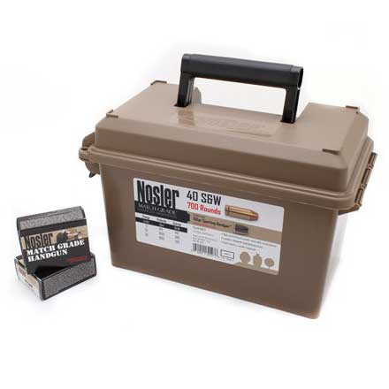 40 S&W 150 Grain JHP (Match Grade) Ammunition with Ammo Can 700 Rounds Per Can
