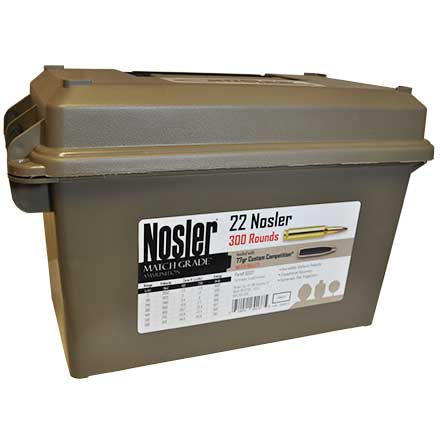 22 Nosler 77 Grain Custom Competition (Match Grade) Bulk Ammunition with Ammo Can 300 Rounds Per Can