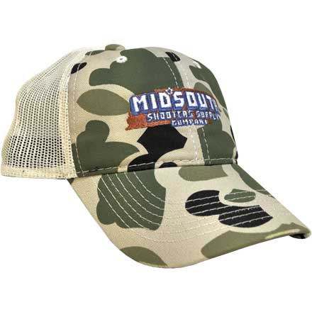 Retro Camo Midsouth Shooters Throwback Snapback Hat With Vintage White Mesh Back