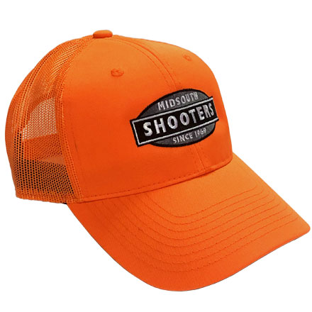 Blaze Orange Structured Midsouth Shooters Hat With Mesh Back (With Greyscale Midsouth Logo)