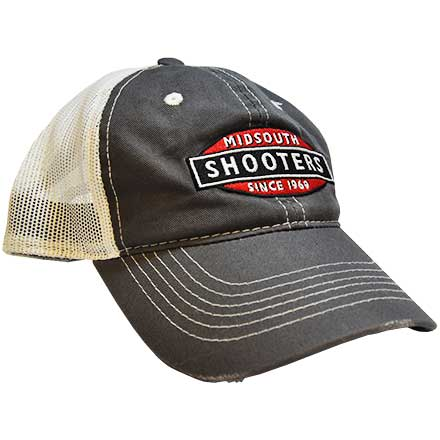 Charcoal Midsouth Shooters Frayed Hat With White Mesh Back