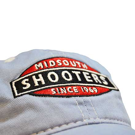 Light Blue Midsouth Shooters Frayed Hat With White Mesh Back