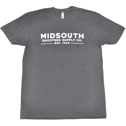 Midsouth Shooters Charcoal Heathered Crew T-Shirt with Brand (Extra Soft and Light Weight) Medium