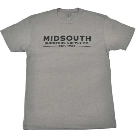 Midsouth Shooters Stone Gray Crew T-Shirt with Brand (Extra Soft and Light Weight) Large