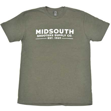 Midsouth Shooters Green Heathered Crew T-Shirt with Brand (Extra Soft and Light Weight) Medium