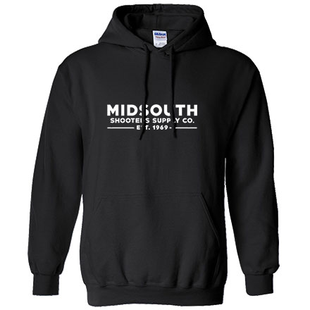 Midsouth Black Heavy Cotton Long Sleeve Hoodie Pullover With Midsouth Brand (Large)