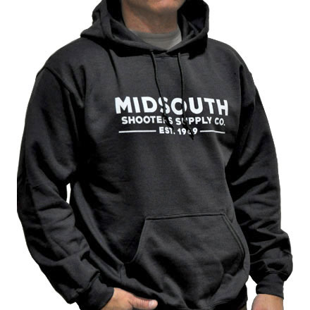 Midsouth Black Heavy Cotton Long Sleeve Hoodie Pullover With Midsouth Brand (X-Large)