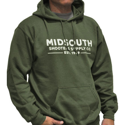 Midsouth Military Green Heavy Cotton Long Sleeve Hoodie Pullover With Midsouth Brand (Large)