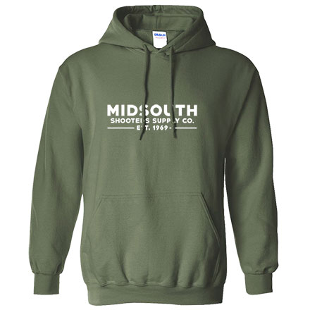 Midsouth Military Green Heavy Cotton Long Sleeve Hoodie Pullover With Midsouth Brand (X-Large)