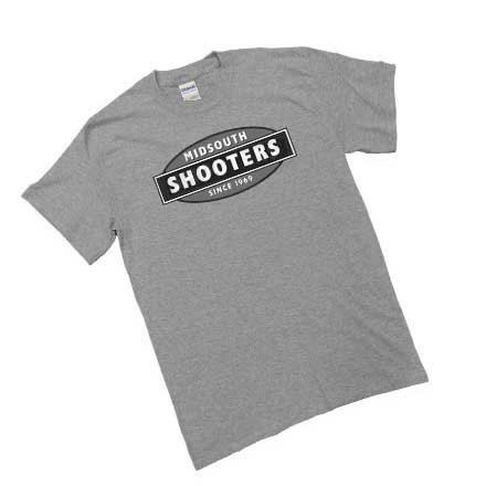 Limited Edition Midsouth Shooters B&W Logo Heather Gray T-Shirt (Extra Soft and Light Weight) Medium