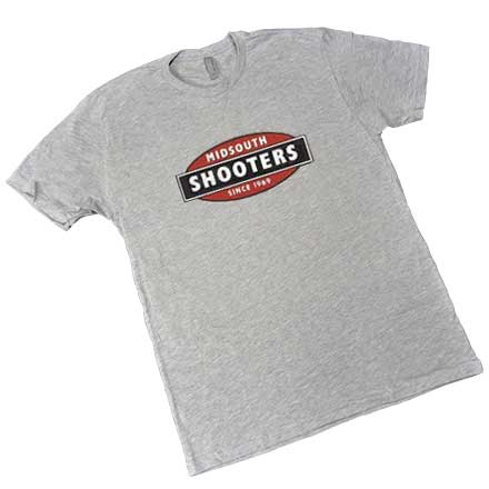 Limited Edition Midsouth Shooters Logo Heather Gray T-Shirt (Extra Soft and Light Weight) Medium