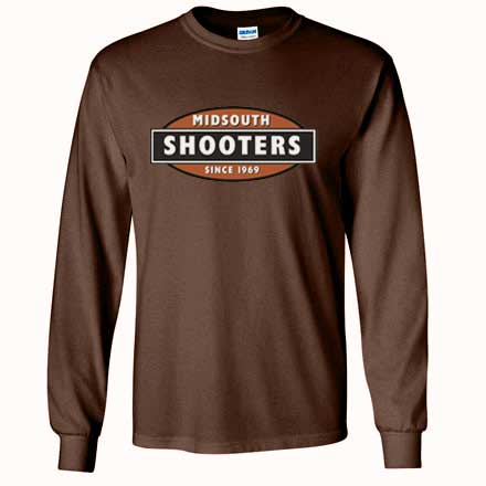 Midsouth Brown Heavy Cotton Long Sleeve T-Shirt With Midsouth Logo (XXX-Large)