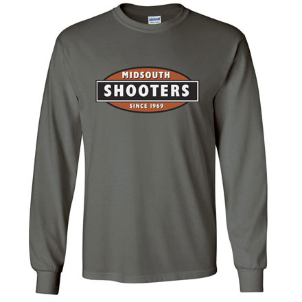 Midsouth Charcoal Heavy Cotton Long Sleeve T-Shirt With Midsouth Logo (Large)