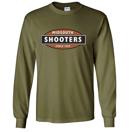 Midsouth OD Green Heavy Cotton Long Sleeve T-Shirt With Midsouth Logo (Small)