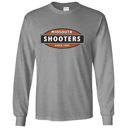 Midsouth Grey Heavy Cotton Long Sleeve T-Shirt With Midsouth Logo (Medium)