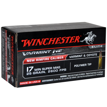Image for Winchester 17 WSM Varmint 25 Grain HE Plastic Tip 50 Count