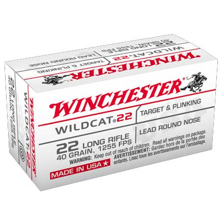 Winchester Wildcat 22 LR 1255 FPS 40 Grain Lead Round Nose 50 Rounds