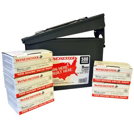 9mm Luger 115 Grain Full Metal Jacket 500 Rounds with Metal Ammo Can