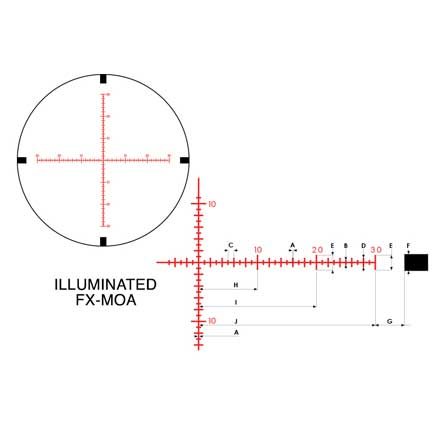Black FX1000 6-24x50SF Illuminated FX-MOA Reticle FFP Matte Finish