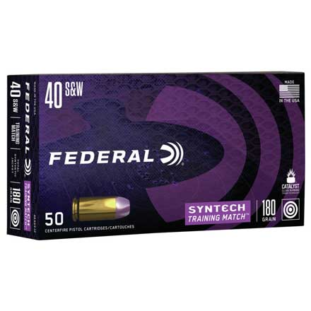 40 Smith & Wesson 180 Grain Syntech Training Match TSJ 50 Rounds