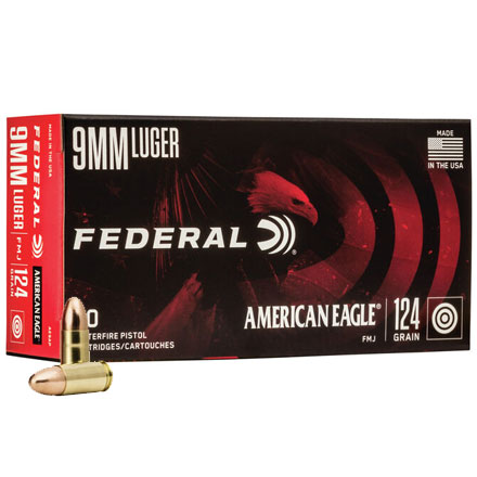 American Eagle 9mm Luger 124 Grain Full Metal Jacket 50 Rounds