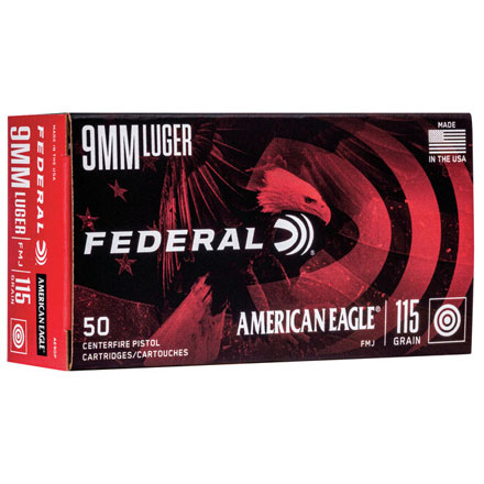 American Eagle 9mm Luger 115 Grain Full Metal Jacket 50 Rounds
