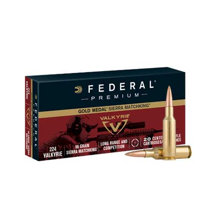 224 Valkyrie 90 Grain Sierra Matchking Boat Tail Hollow Point 20 Rounds
