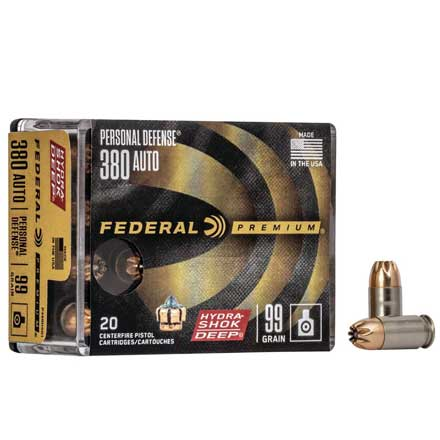 380 Auto 99 Grain Hydra-Shok  Deep Jacketed Hollow Point 20 Rounds