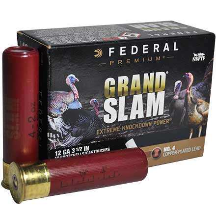 "12 Gauge 3 1/2"" MAX. 2 Oz #4 Grandslam w/Flitecontrol Flex Turkey Copper Plated Shotshells 10 Rounds"