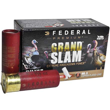 "12 Gauge 2 3/4"" MAX. 1 1/2 Oz #5 Shot Grandslam w/Flitecontrol Flex Turkey CP Shotshells 10 Rounds"