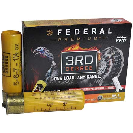 "20 Gauge 3rd Degree 3"" 1 7/16 Oz 5, 6, 7 Shot Turkey w/Flitecontrol Flex Wad  1100 FPS 5 Rounds"