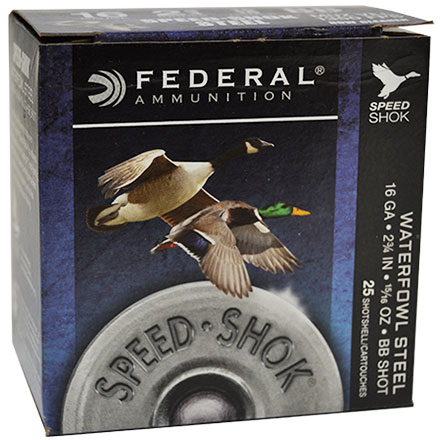 "16 Gauge 2 3/4"" 15/16 Oz #BB Speed-Shok High Velocity Shotshells 25 Rounds"