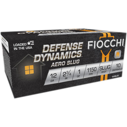 "Fiocchi 12 Gauge 2 3/4"" 1oz Aero Slug Low Recoil 10 Rounds"