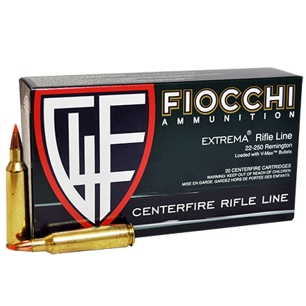 Fiocchi 22-250 Remington 55 Grain V-Max 20 Rounds
