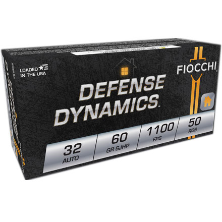 Fiocchi 32 Auto 60 Grain Jacketed Hollow Point 50 Rounds