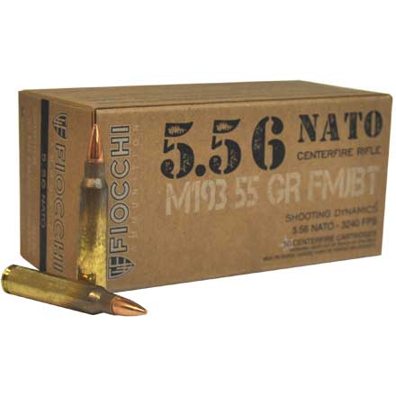 Fiocchi 5.56 NATO 55 Grain Full Metal Jacket Boat Tail 50 Rounds