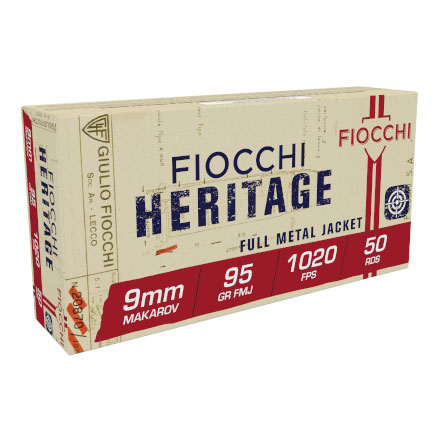 Fiocchi 9mm Makarov 95 Grain Full Metal Jacket 50 Rounds